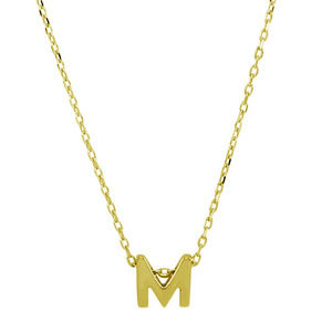 Silver Gold Plated Small Initial letter M Necklace